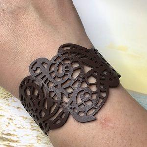 Hollow Laser Cut Brown Bracelet